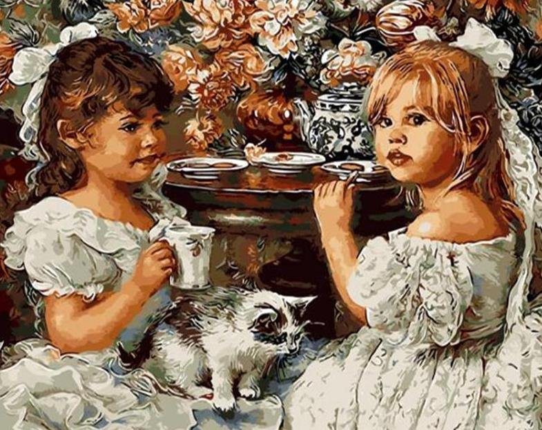 Little Girls & Kitten Painting by Numbers