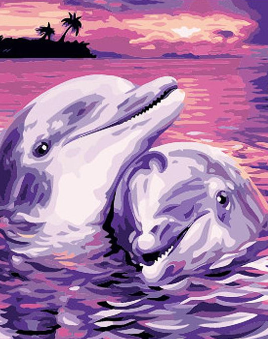 Dolphins Pair Paint by Numbers