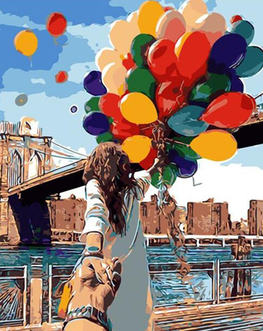 Girl & Balloons Paint by Numbers