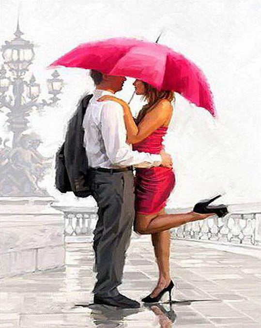 Couple & Umbrella Paint by Numbers