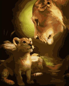 Mom & Baby Lion Paint by Numbers