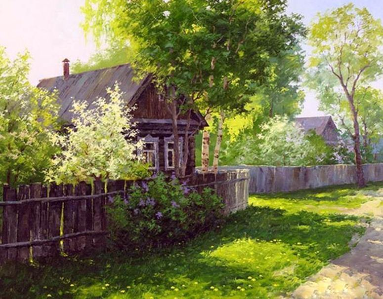 Morning in the Village Paint by Numbers