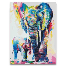 Load image into Gallery viewer, Elephant with Baby Paint by Numbers Kit