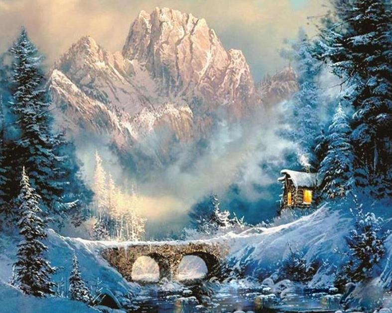 Winter Landscape Painting by Numbers