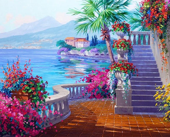 Palm Trees Flowers By The House Paint By Numbers Home