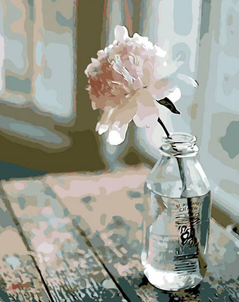 Peony in Glass Bottle Paint by Numbers
