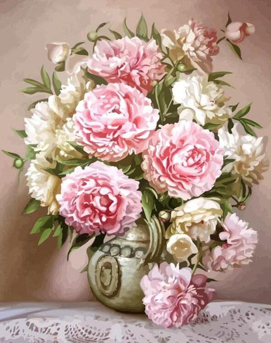 Pink & White Peonies Paint by Numbers