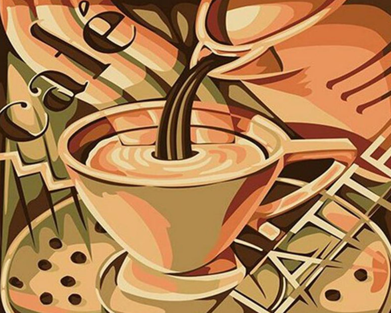 Pouring Coffee Paint by Numbers