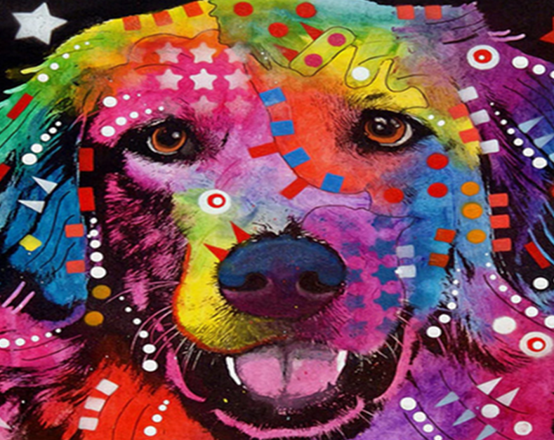 Psychedelic Dog Paint by Numbers