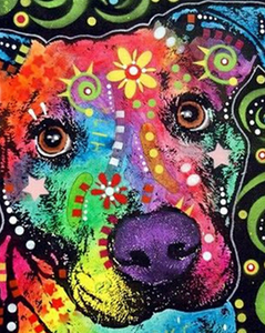 Psychedelic Dog Head Paint by Numbers