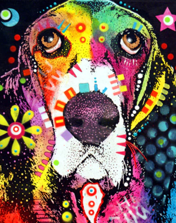 Psychedelic Dog Painting  by Numbers