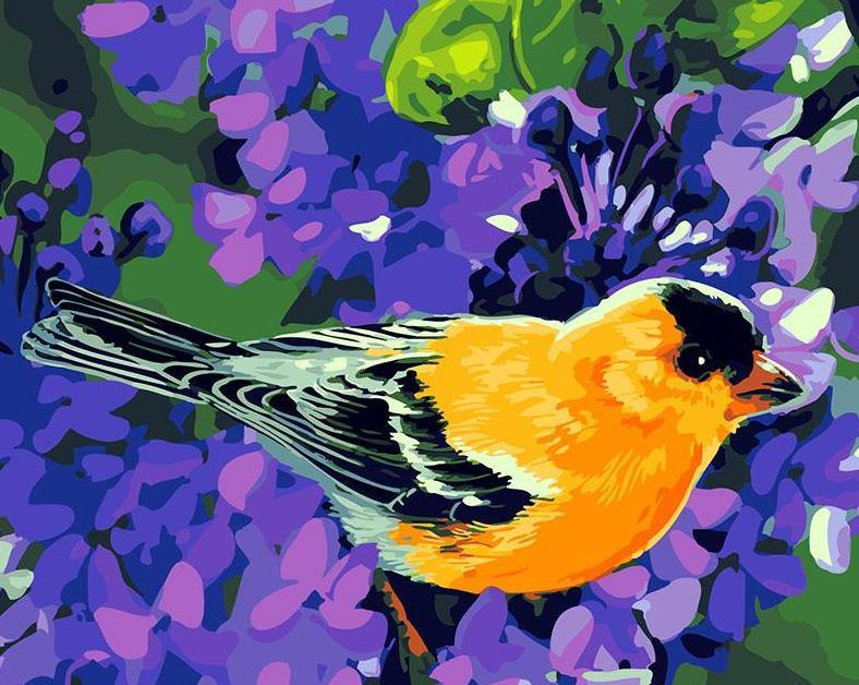 Purple Flowers Bird Paint by Numbers