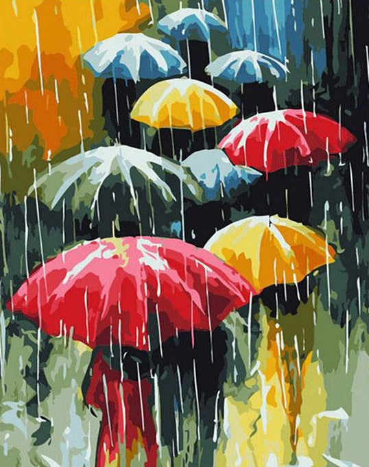 Colorful Umbrellas Paint by Numbers