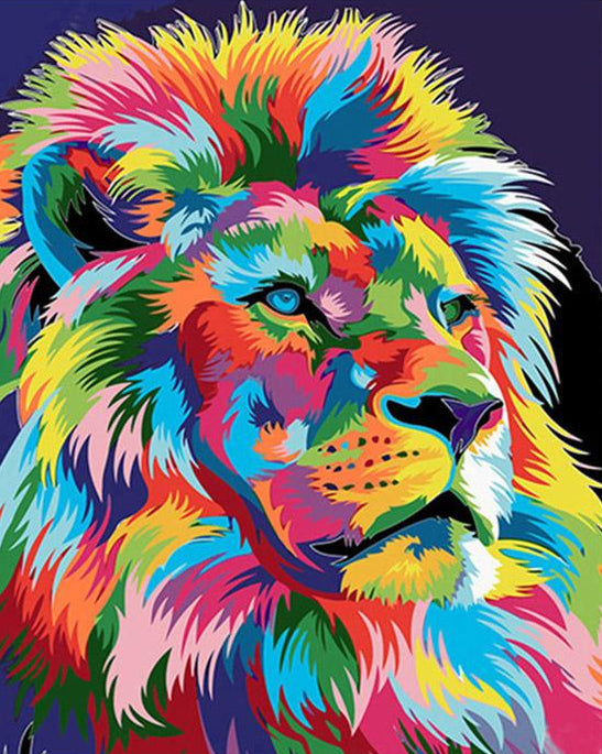 Rainbow Lion Paint by Numbers