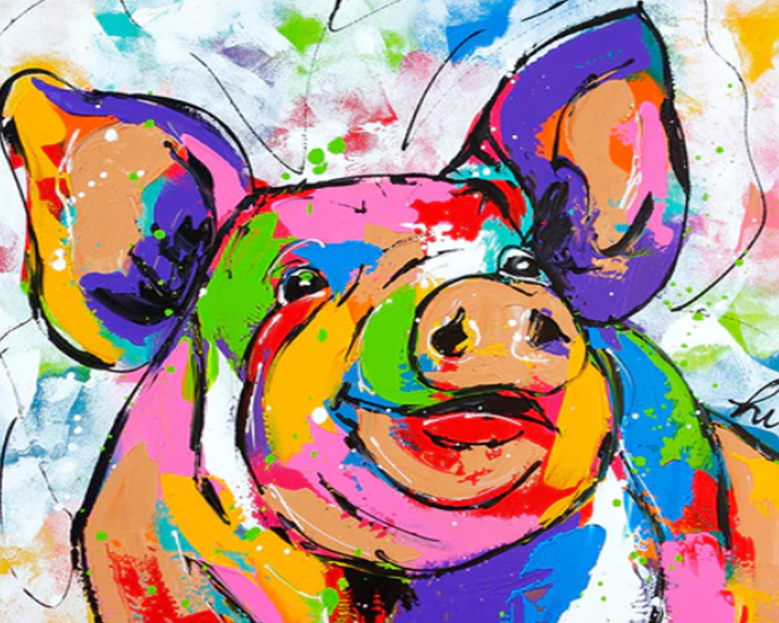 Rainbow Pig Paint by Numbers