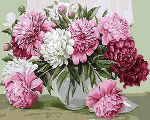 Red Peonies Paint by Numbers