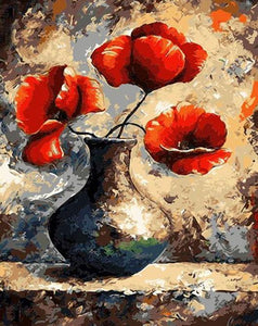 Red Poppies Painting by Numbers