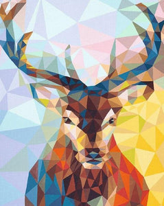 Reindeer Cubism Art Paint by Numbers