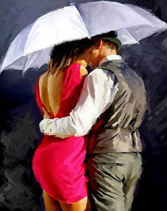 Couple Kiss Painting by Numbers