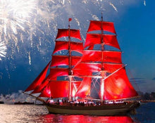 Load image into Gallery viewer, Sailboat & Fireworks Paint by Numbers