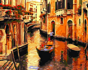 Venice Street & Boat Paint by Numbers
