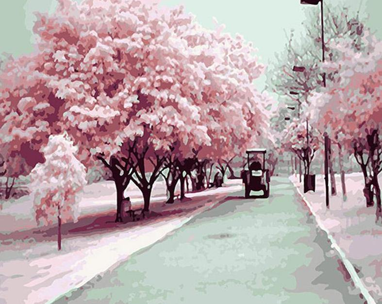 Sakura Trees Paint by Numbers
