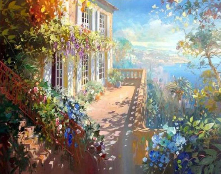 Floral Balcony Paint by Numbers