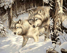Load image into Gallery viewer, Snow Wolves DIY Painting Kit