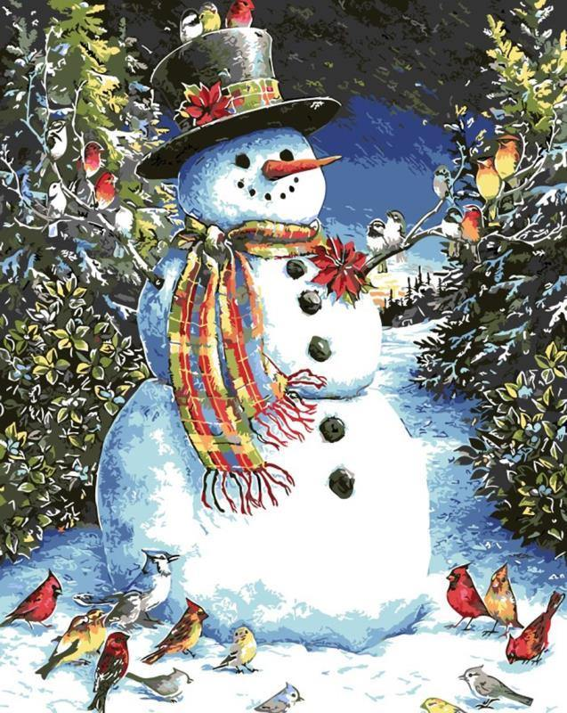 Snowman & Birds Paint by Numbers