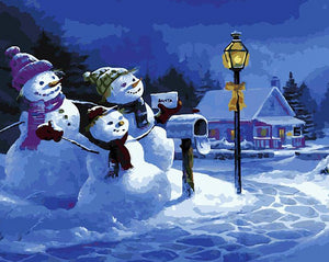 Snowman Family Paint by Numbers