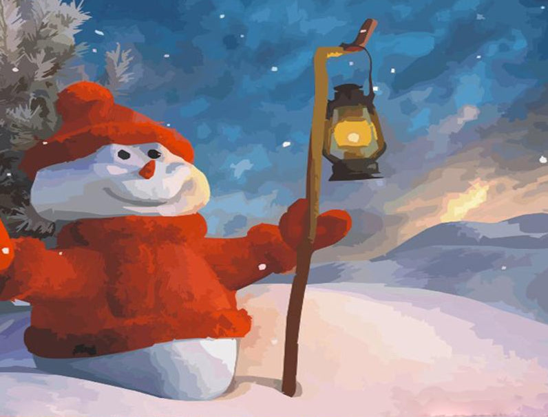 Snowman & Lantern Paint by Numbers