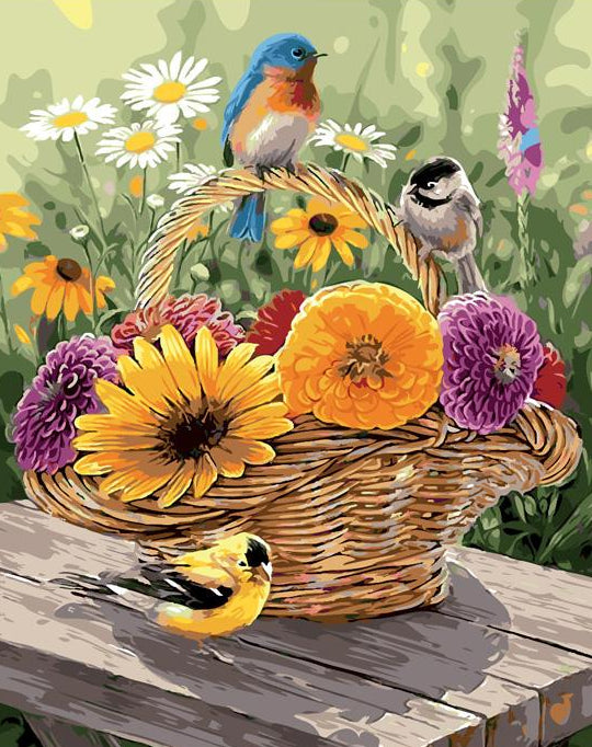 Flowers Basket Paint by Numbers