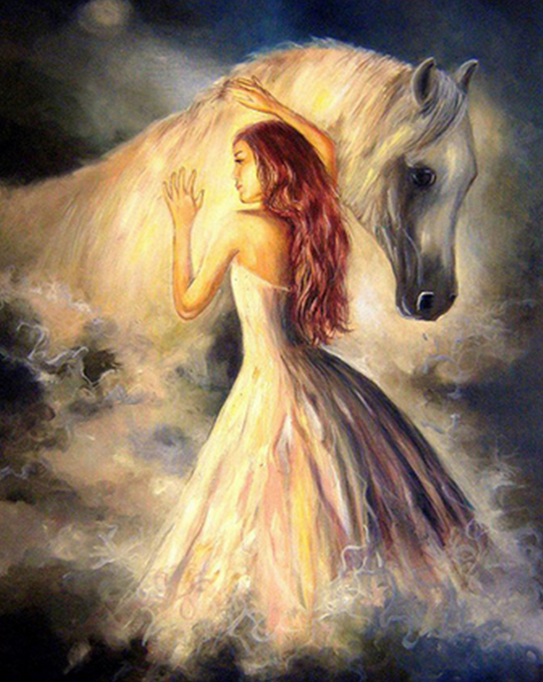 Girl & Horse Paint by Numbers