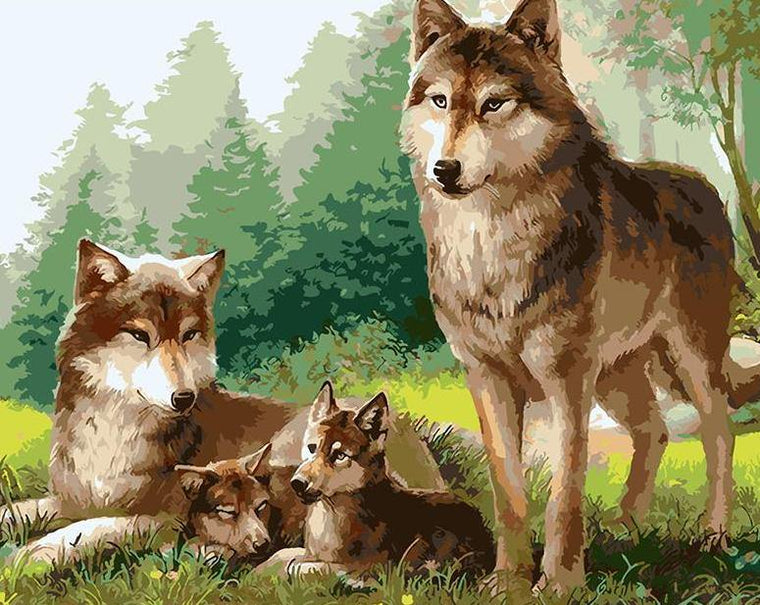 Stunning Wolves Family Paint by Numbers
