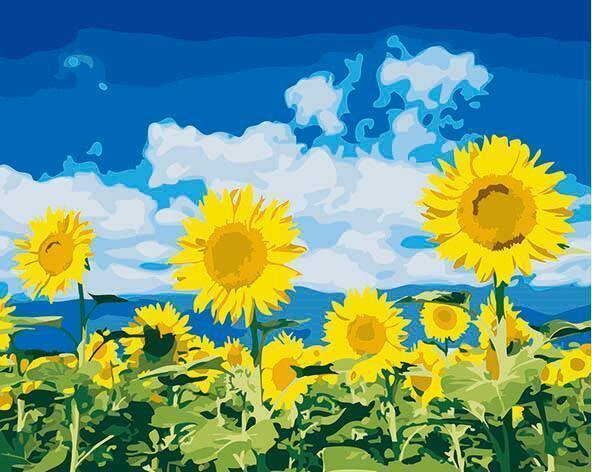 Sunflower Landscape Paint by Numbers