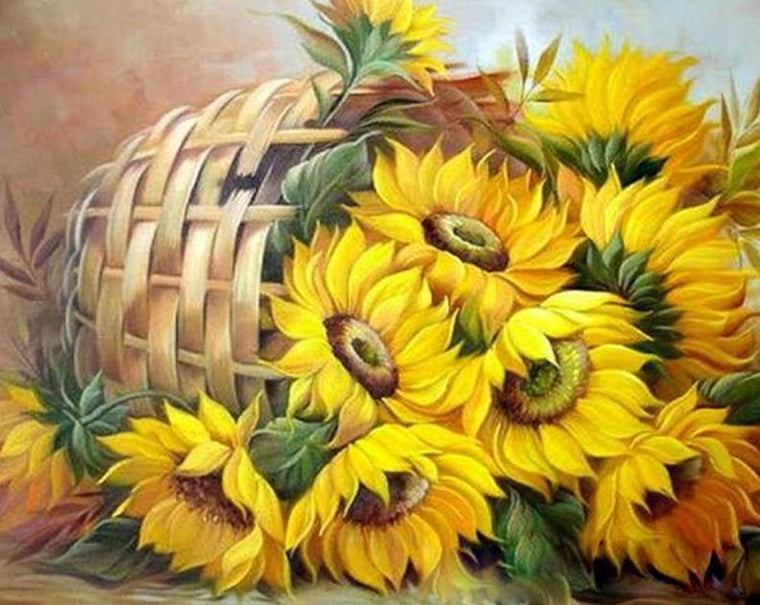 Sunflowers Basket Paint by Numbers