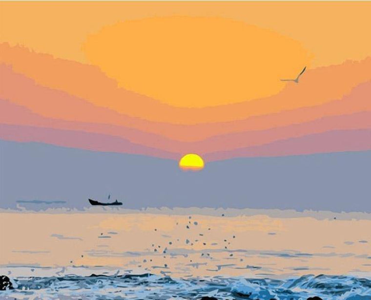 Sunset Sea View Paint by Numbers