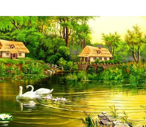 Swans & Green Forest Painting Kit
