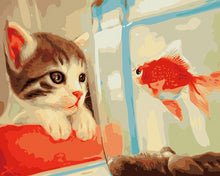 Load image into Gallery viewer, Cat & Goldfish Paint by Numbers
