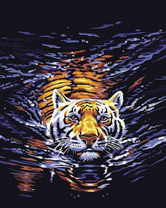 Swimming tiger Paint by Numbers