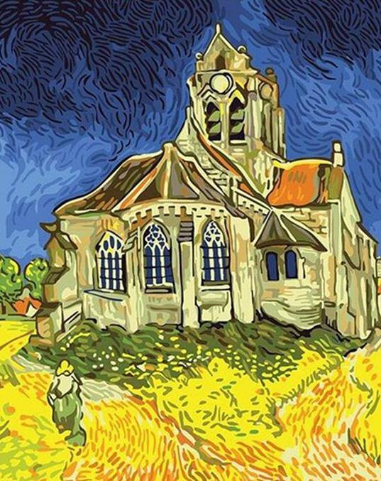 The Church at Auvers Paint by Numbers