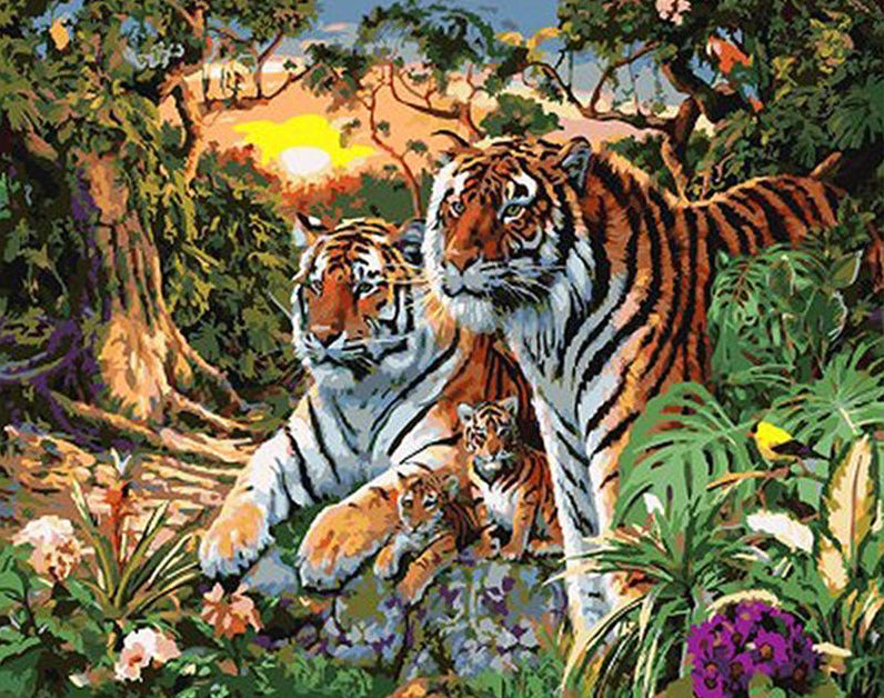 Tiger & Cubs Paint by Numbers