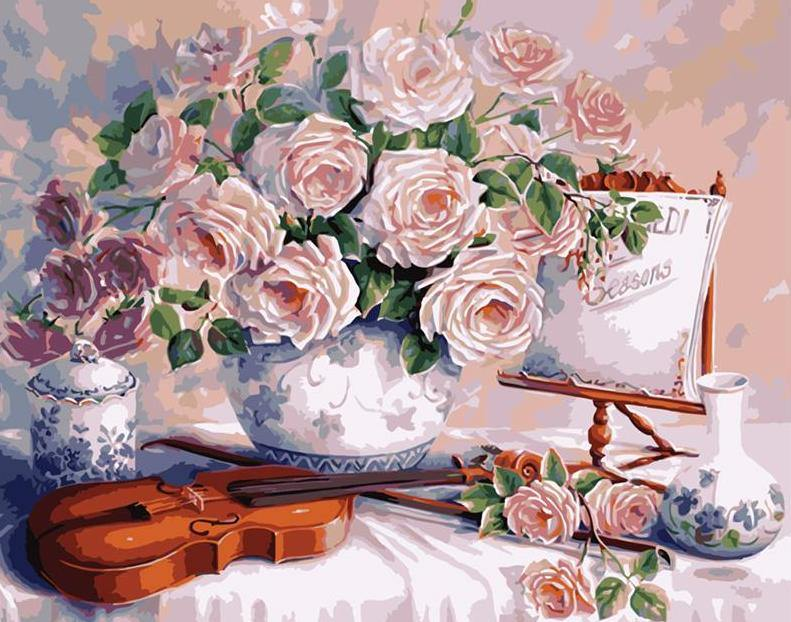 Violin & Roses Paint by Numbers