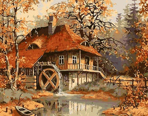 Water Wheel Mill Paint by Numbers