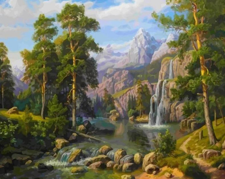 Waterfall & Mountains Paint by Numbers