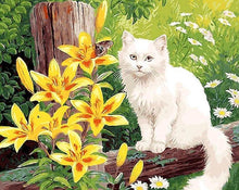 Load image into Gallery viewer, Cat & Yellow Flowers Paint by Numbers