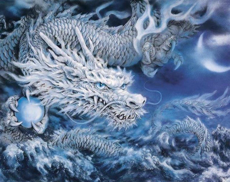 White Dragon Paint by Numbers