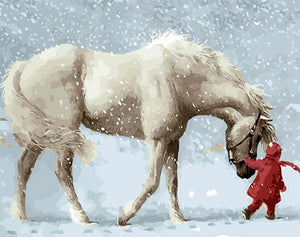 Horse & Snow Paint by Numbers