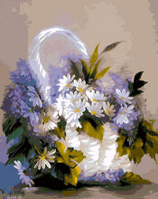 Load image into Gallery viewer, White & Purple Daisies Paint by Numbers