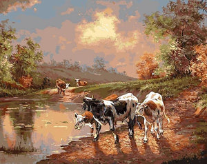Wild Cows Paint by Numbers